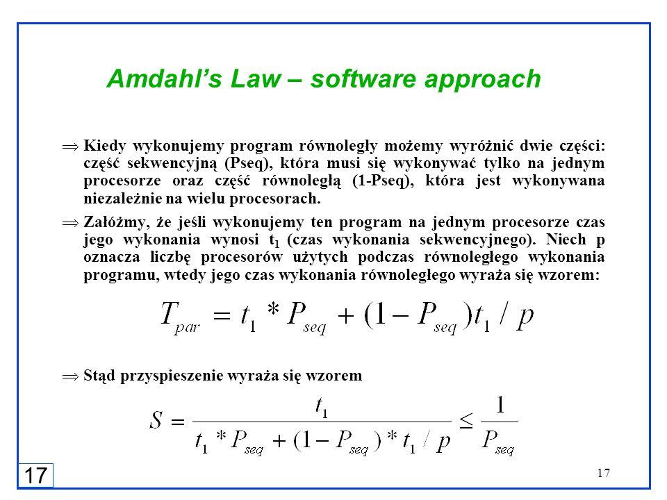 17 Amdahls Law – software approach Kiedy wykonujemy program równoległy możemy wyróżnić dwie części: część sekwencyjną (Pseq), która musi się wykonywać