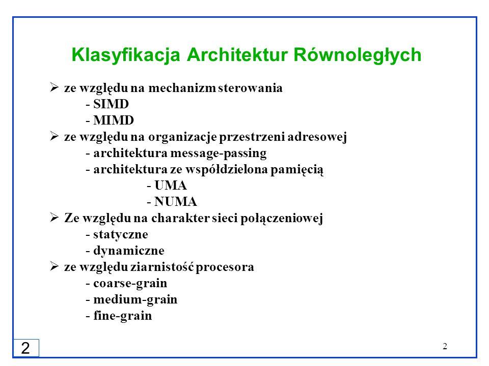 2 2 Klasyfikacja Architektur Równoległych ze względu na mechanizm sterowania - SIMD - MIMD ze względu na organizacje przestrzeni adresowej - architekt