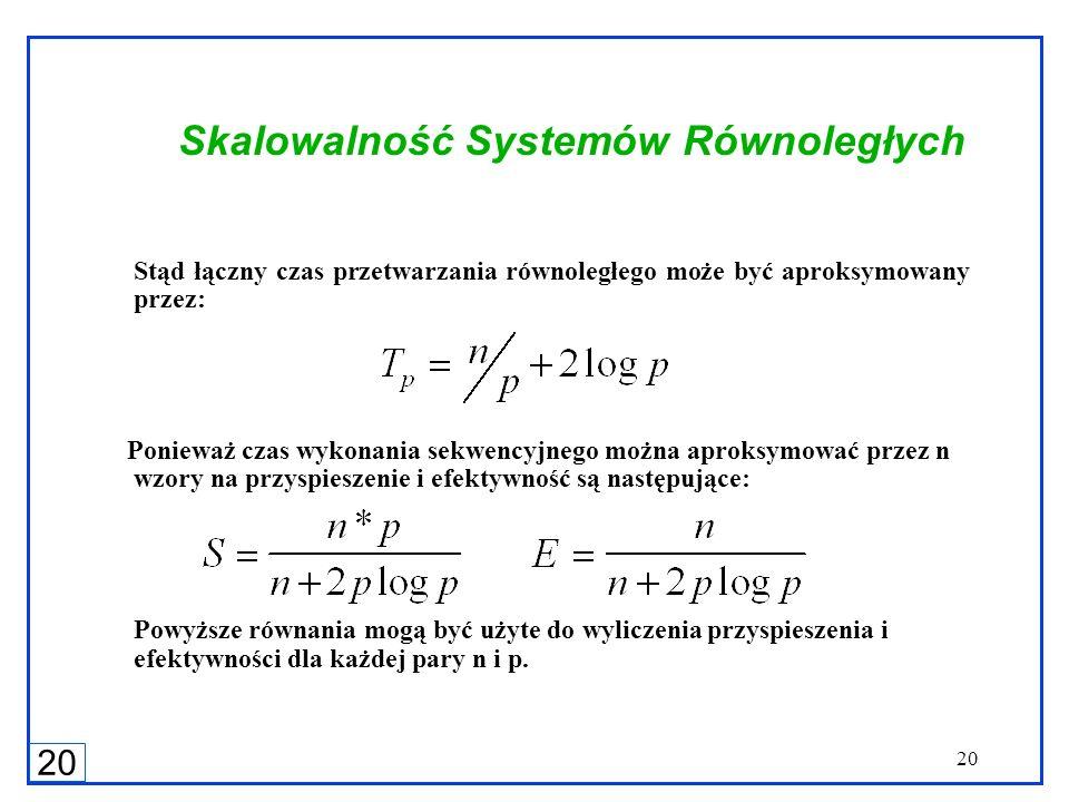 20 Skalowalność Systemów Równoległych Stąd łączny czas przetwarzania równoległego może być aproksymowany przez: Ponieważ czas wykonania sekwencyjnego