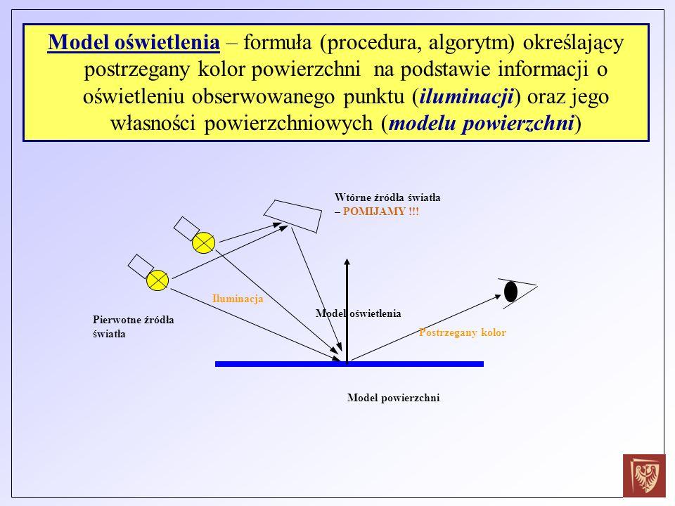 Model oświetlenia – formuła (procedura, algorytm) określający postrzegany kolor powierzchni na podstawie informacji o oświetleniu obserwowanego punktu