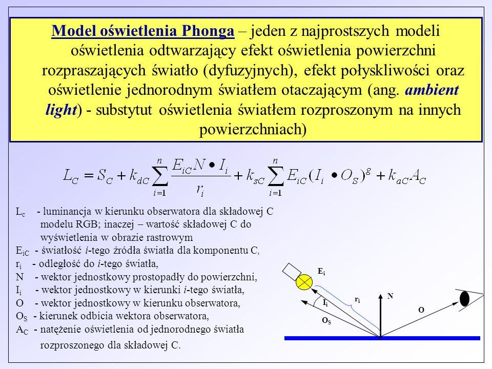L c - luminancja w kierunku obserwatora dla składowej C modelu RGB; inaczej – wartość składowej C do wyświetlenia w obrazie rastrowym E iC - światłość