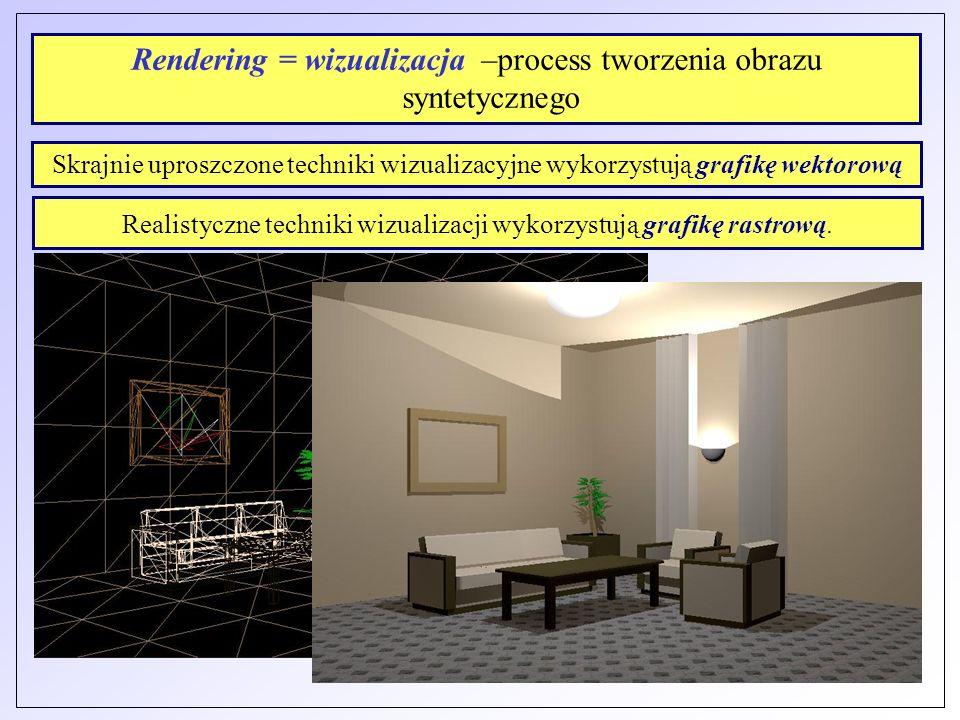Rendering = wizualizacja –process tworzenia obrazu syntetycznego Skrajnie uproszczone techniki wizualizacyjne wykorzystują grafikę wektorową Realistyc