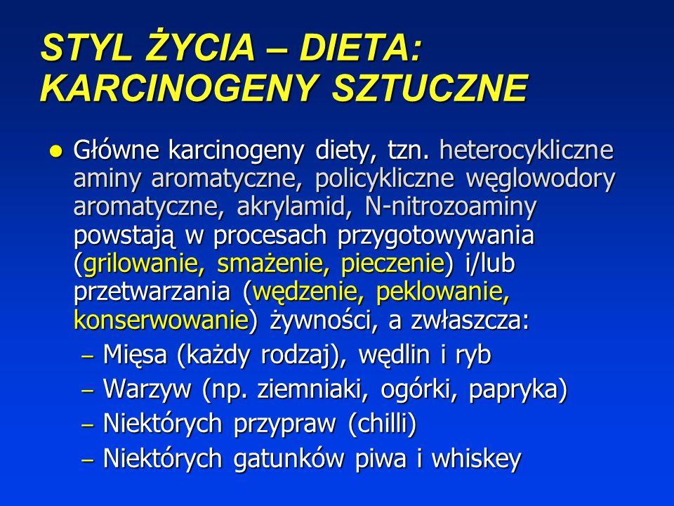 STYL ŻYCIA – DIETA: KARCINOGENY NATURALNE Naturalnie występujące pestycydy [np. kwas kofeinowy (jabłko, gruszka, śliwka, grejpfrut, marchew, sałata, z