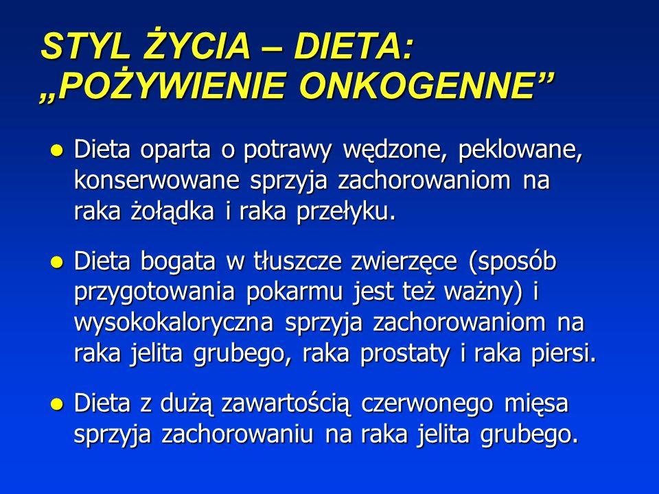 STYL ŻYCIA – DIETA: KARCINOGENY SZTUCZNE Główne karcinogeny diety, tzn. heterocykliczne aminy aromatyczne, policykliczne węglowodory aromatyczne, akry
