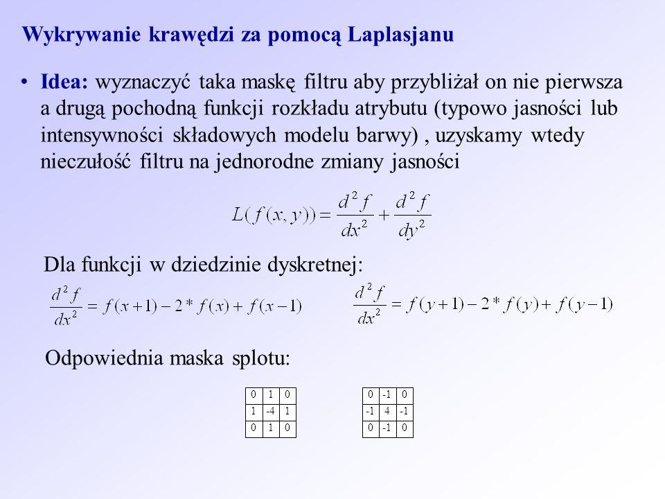 Wykrywanie krawędzi za pomocą Laplasjanu Idea: wyznaczyć taka maskę filtru aby przybliżał on nie pierwsza a drugą pochodną funkcji rozkładu atrybutu (