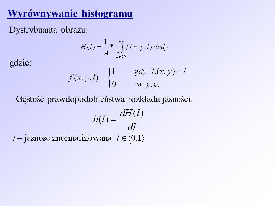 Wyrównywanie histogramu Dystrybuanta obrazu: gdzie: Gęstość prawdopodobieństwa rozkładu jasności: