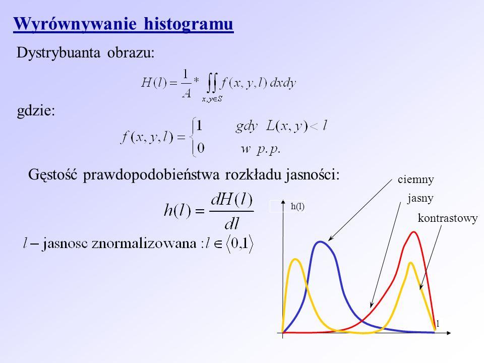 Wyrównywanie histogramu Dystrybuanta obrazu: gdzie: Gęstość prawdopodobieństwa rozkładu jasności: l h(l) ciemny kontrastowy jasny