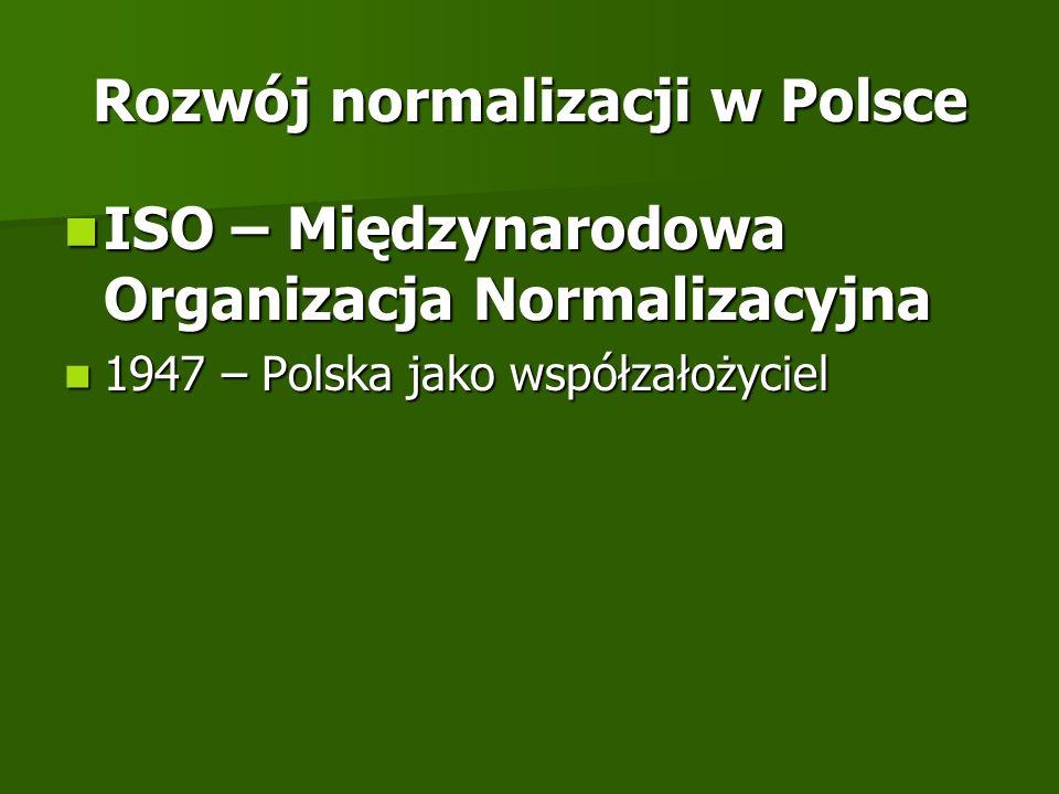 Rozwój normalizacji w Polsce ISO – Międzynarodowa Organizacja Normalizacyjna ISO – Międzynarodowa Organizacja Normalizacyjna 1947 – Polska jako współz