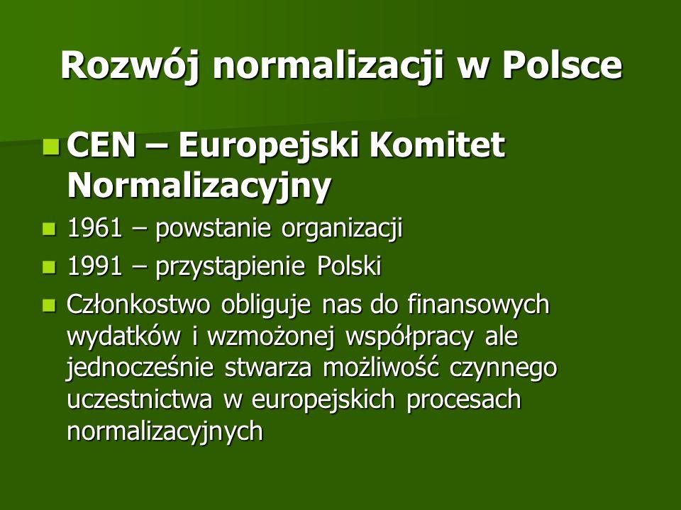 Rozwój normalizacji w Polsce CEN – Europejski Komitet Normalizacyjny CEN – Europejski Komitet Normalizacyjny 1961 – powstanie organizacji 1961 – powst