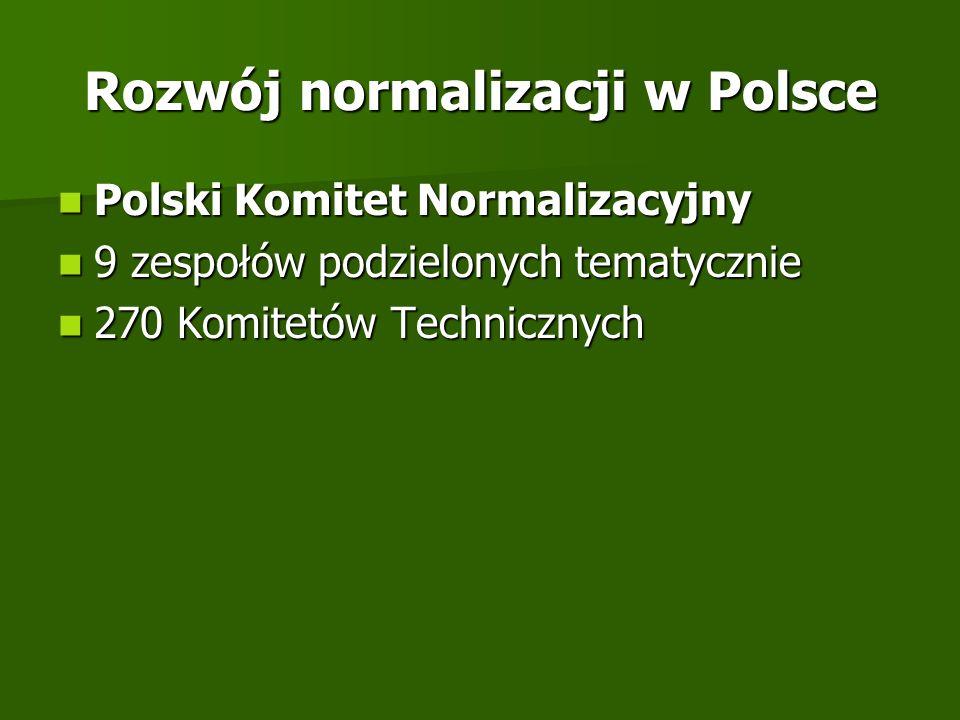 Rozwój normalizacji w Polsce Polski Komitet Normalizacyjny Polski Komitet Normalizacyjny 9 zespołów podzielonych tematycznie 9 zespołów podzielonych t