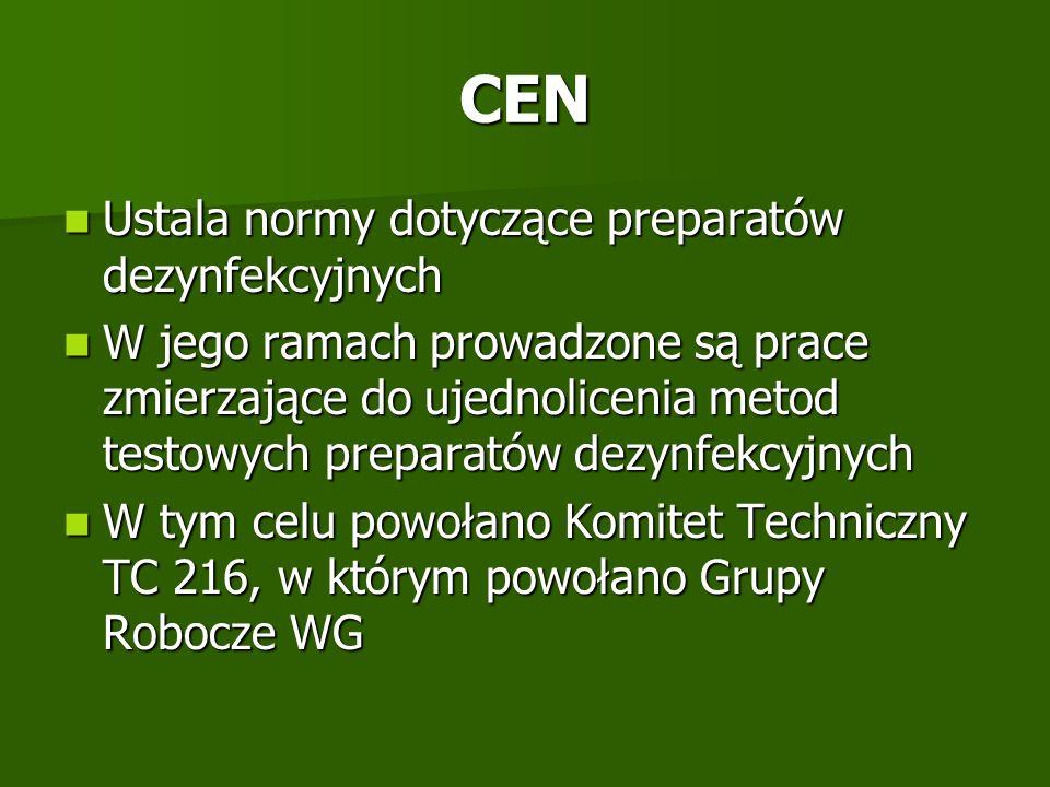 CEN Ustala normy dotyczące preparatów dezynfekcyjnych Ustala normy dotyczące preparatów dezynfekcyjnych W jego ramach prowadzone są prace zmierzające
