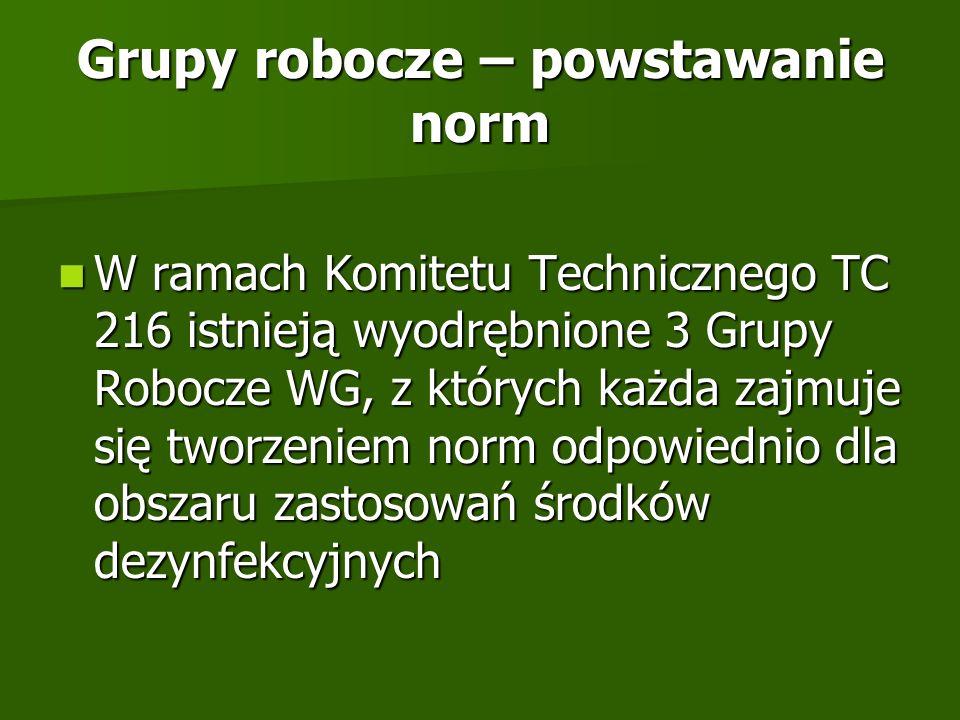 Grupy robocze – powstawanie norm W ramach Komitetu Technicznego TC 216 istnieją wyodrębnione 3 Grupy Robocze WG, z których każda zajmuje się tworzenie
