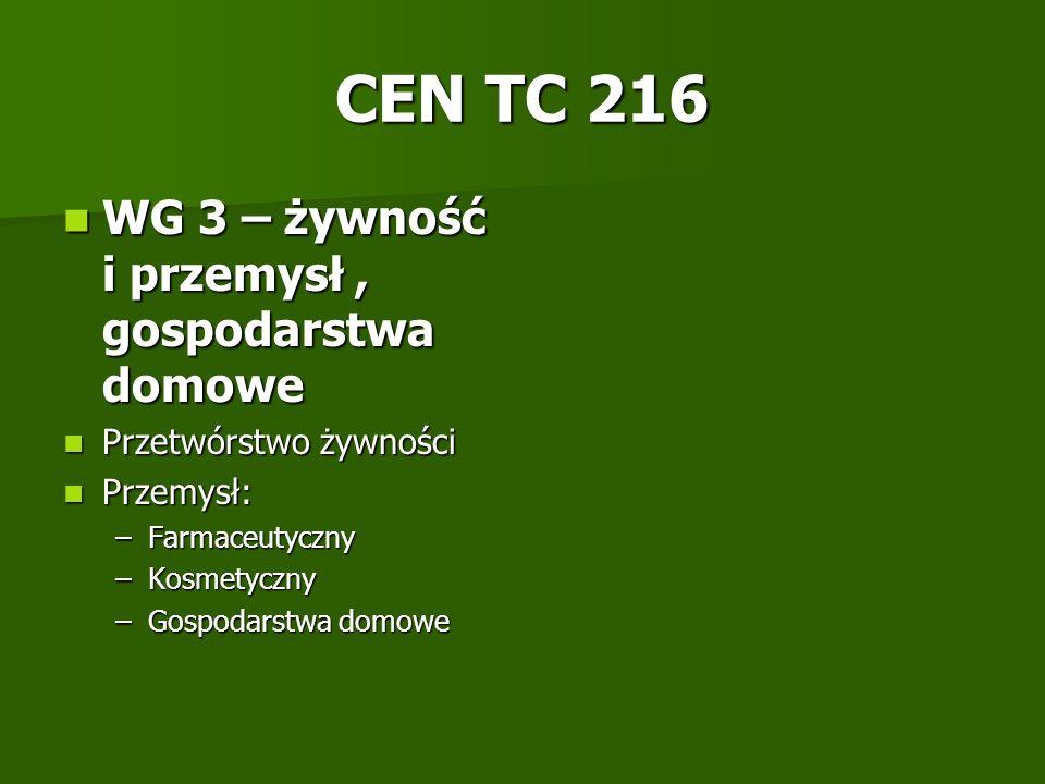CEN TC 216 WG 3 – żywność i przemysł, gospodarstwa domowe WG 3 – żywność i przemysł, gospodarstwa domowe Przetwórstwo żywności Przetwórstwo żywności P