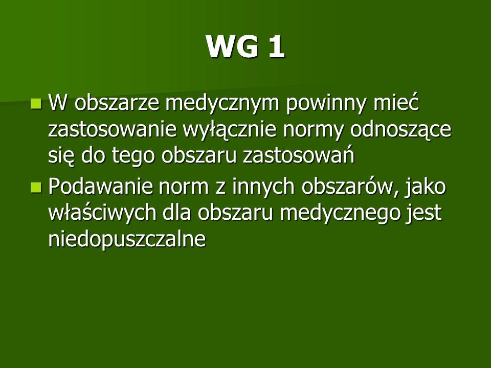 WG 1 W obszarze medycznym powinny mieć zastosowanie wyłącznie normy odnoszące się do tego obszaru zastosowań W obszarze medycznym powinny mieć zastoso
