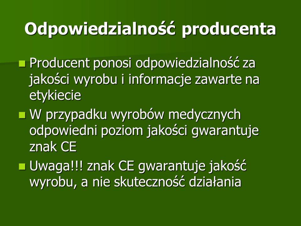 Odpowiedzialność producenta Producent ponosi odpowiedzialność za jakości wyrobu i informacje zawarte na etykiecie Producent ponosi odpowiedzialność za