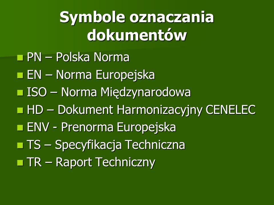 Symbole oznaczania dokumentów PN – Polska Norma PN – Polska Norma EN – Norma Europejska EN – Norma Europejska ISO – Norma Międzynarodowa ISO – Norma M