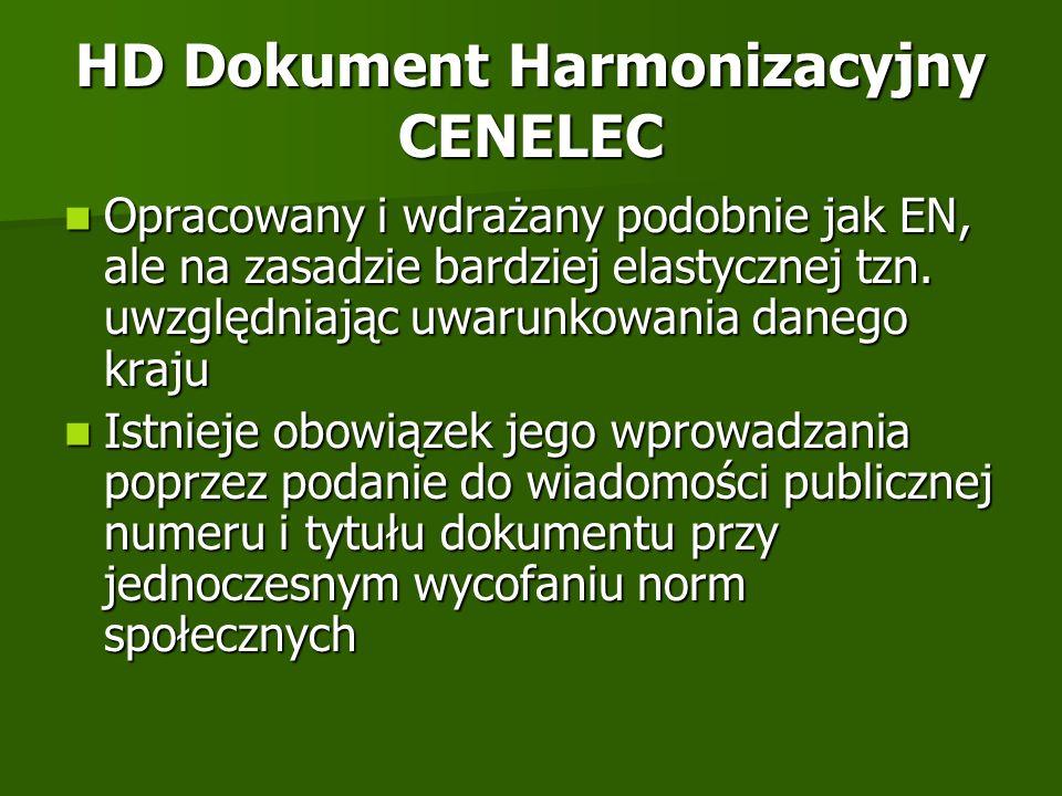HD Dokument Harmonizacyjny CENELEC Opracowany i wdrażany podobnie jak EN, ale na zasadzie bardziej elastycznej tzn. uwzględniając uwarunkowania danego