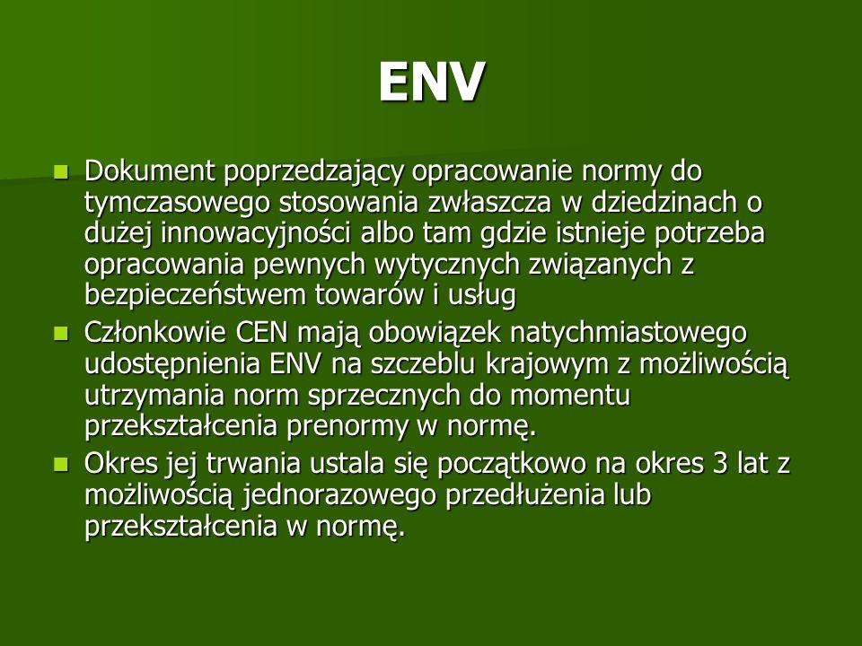 ENV Dokument poprzedzający opracowanie normy do tymczasowego stosowania zwłaszcza w dziedzinach o dużej innowacyjności albo tam gdzie istnieje potrzeb