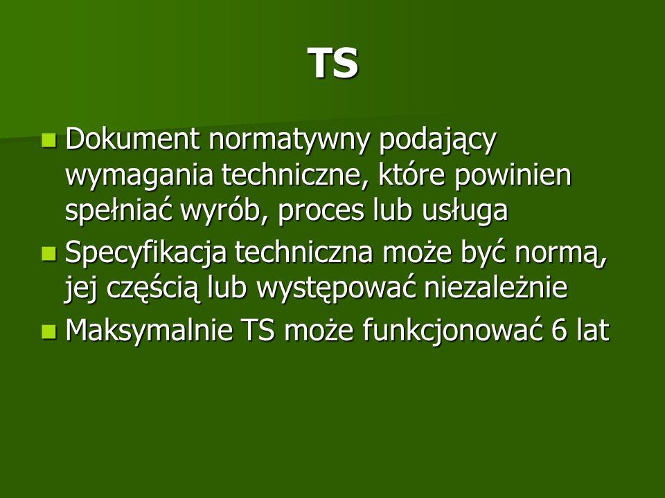 TS Dokument normatywny podający wymagania techniczne, które powinien spełniać wyrób, proces lub usługa Dokument normatywny podający wymagania technicz