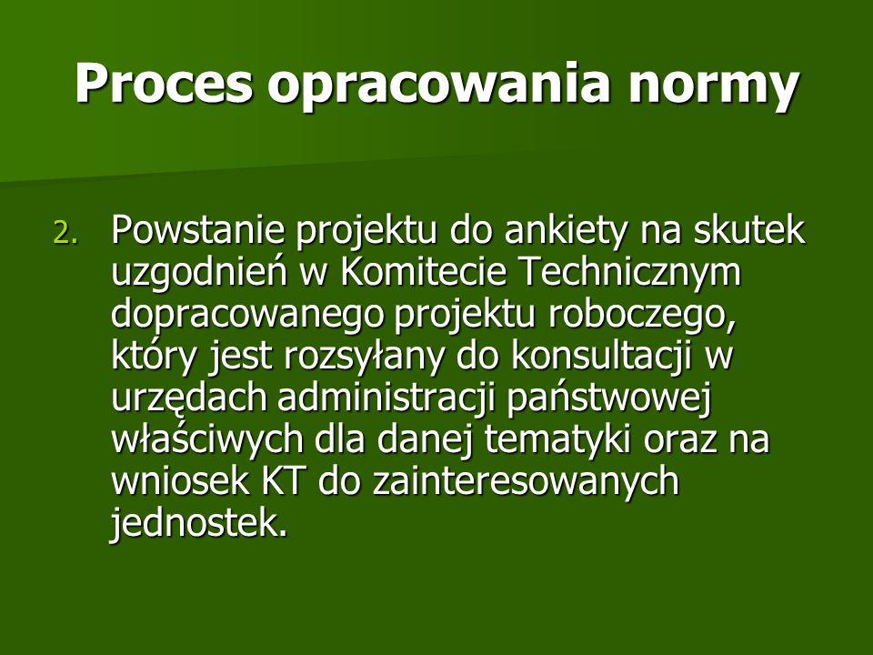 Proces opracowania normy 2. Powstanie projektu do ankiety na skutek uzgodnień w Komitecie Technicznym dopracowanego projektu roboczego, który jest roz