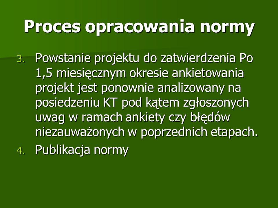 Proces opracowania normy 3. Powstanie projektu do zatwierdzenia Po 1,5 miesięcznym okresie ankietowania projekt jest ponownie analizowany na posiedzen