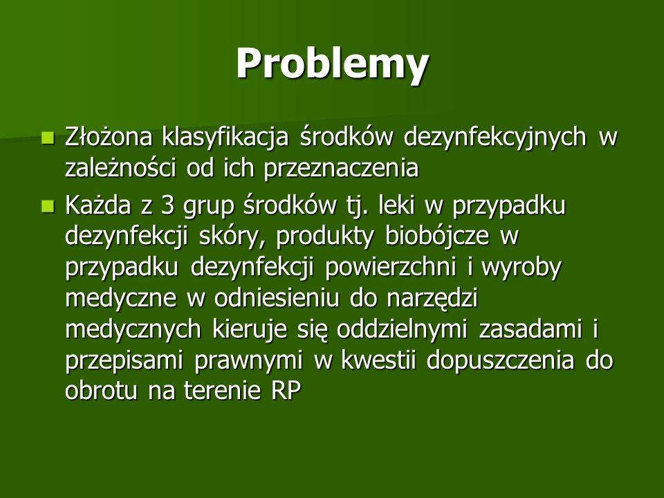 Problemy Złożona klasyfikacja środków dezynfekcyjnych w zależności od ich przeznaczenia Złożona klasyfikacja środków dezynfekcyjnych w zależności od i