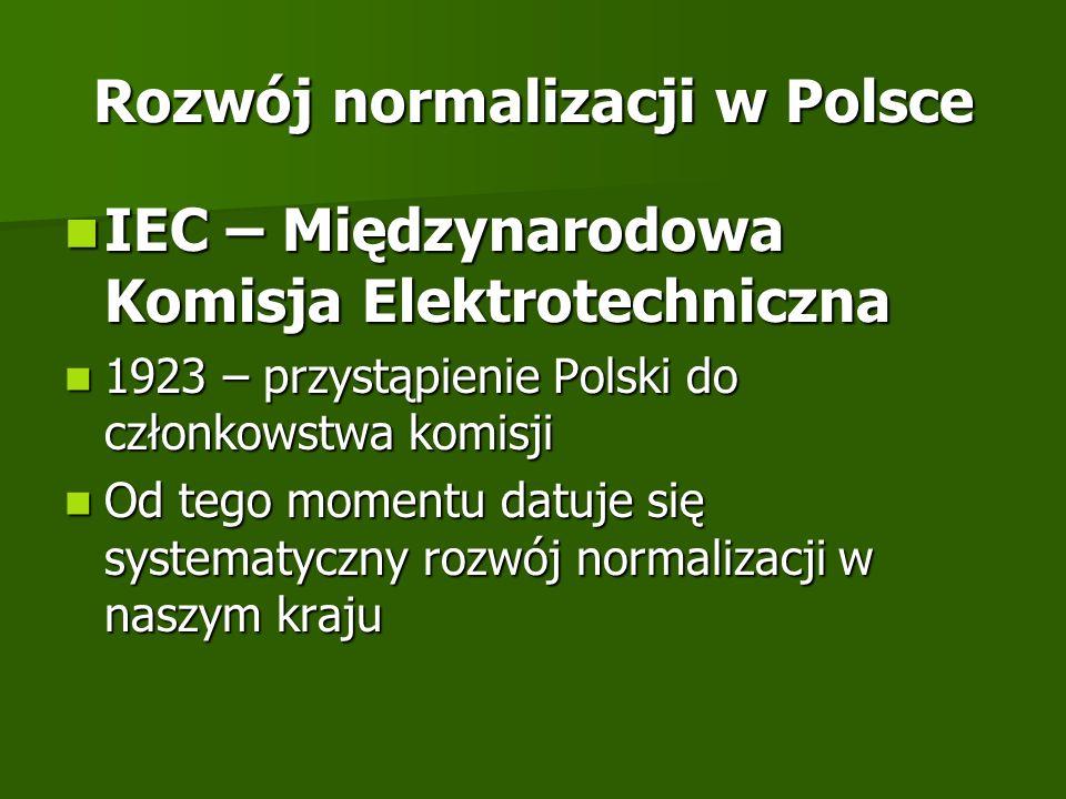 Rozwój normalizacji w Polsce IEC – Międzynarodowa Komisja Elektrotechniczna IEC – Międzynarodowa Komisja Elektrotechniczna 1923 – przystąpienie Polski