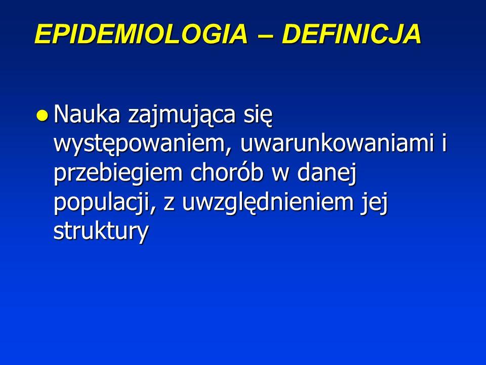 EPIDEMIOLOGIA – DEFINICJA Nauka zajmująca się występowaniem, uwarunkowaniami i przebiegiem chorób w danej populacji, z uwzględnieniem jej struktury Nauka zajmująca się występowaniem, uwarunkowaniami i przebiegiem chorób w danej populacji, z uwzględnieniem jej struktury