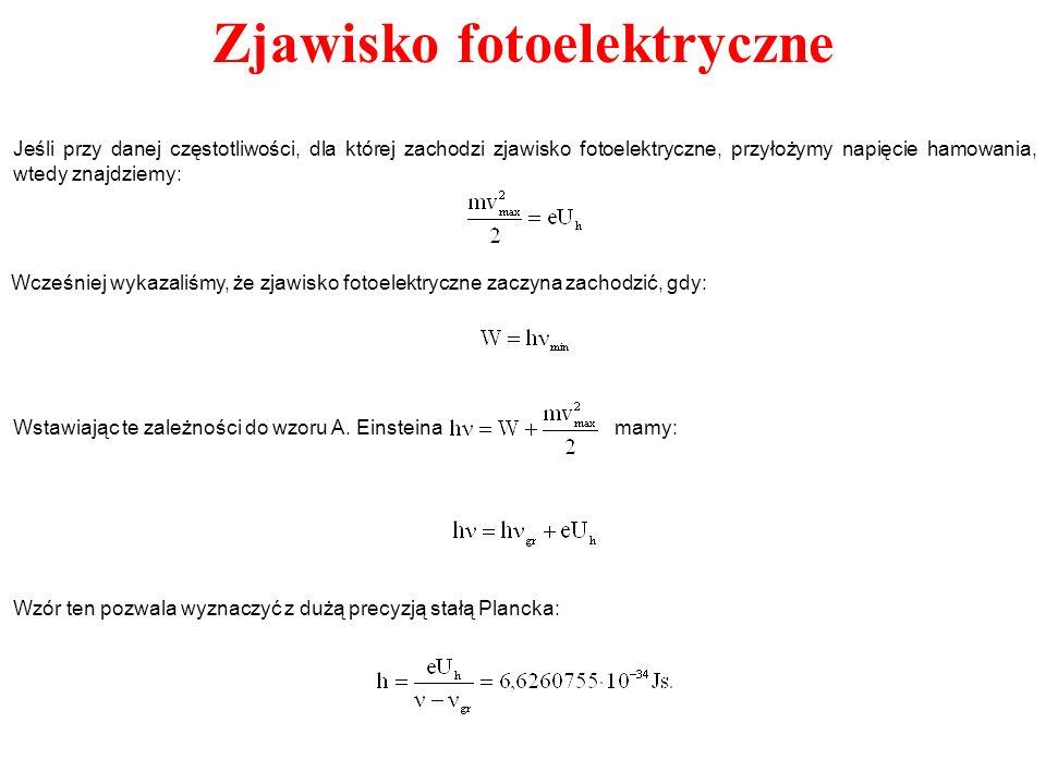 Zjawisko fotoelektryczne Wzór ten pozwala wyznaczyć z dużą precyzją stałą Plancka: Jeśli przy danej częstotliwości, dla której zachodzi zjawisko fotoe