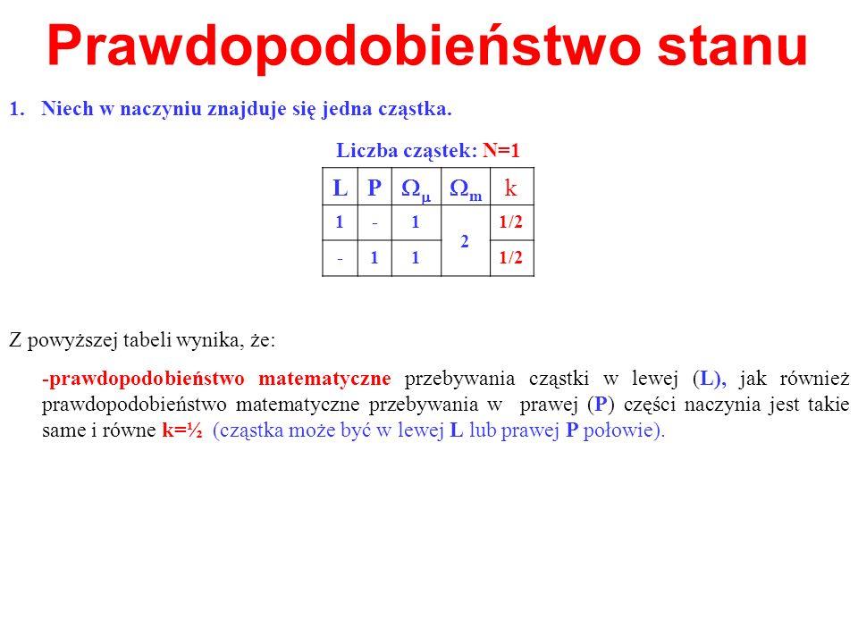Prawdopodobieństwo stanu 1.Niech w naczyniu znajduje się jedna cząstka. Z powyższej tabeli wynika, że: -prawdopodobieństwo matematyczne przebywania cz