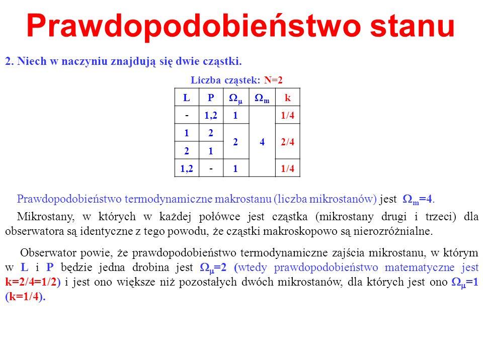 Prawdopodobieństwo stanu 2. Niech w naczyniu znajdują się dwie cząstki. Mikrostany, w których w każdej połówce jest cząstka (mikrostany drugi i trzeci