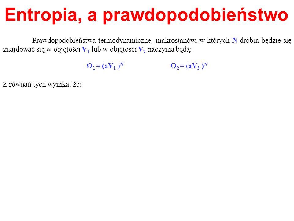 Entropia, a prawdopodobieństwo Z równań tych wynika, że: Prawdopodobieństwa termodynamiczne makrostanów, w których N drobin będzie się znajdować się w