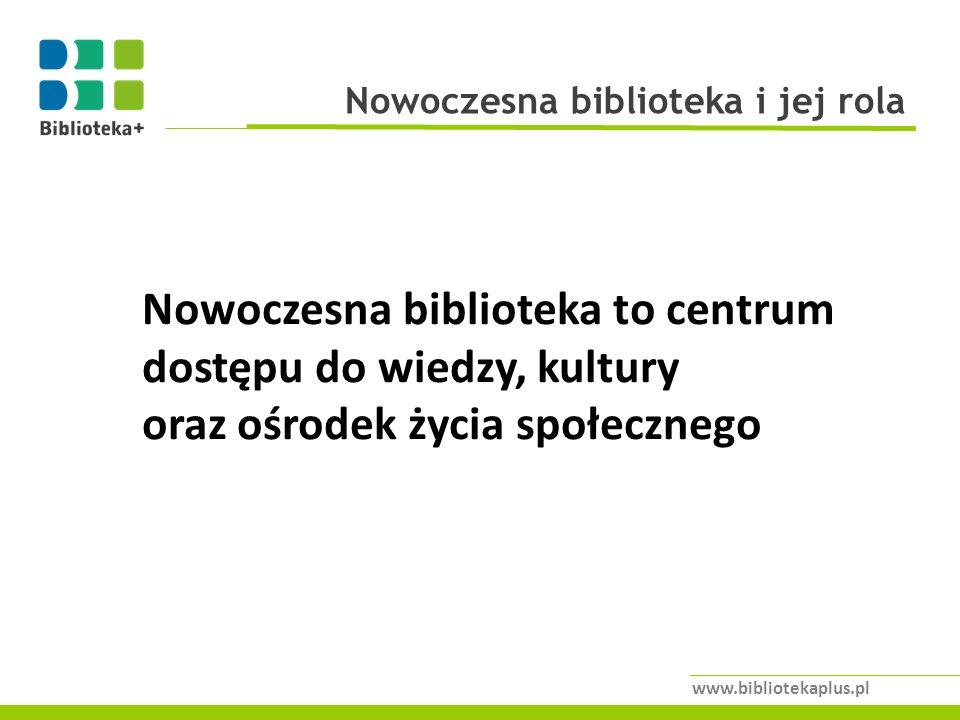 Nowoczesna biblioteka i jej rola www.bibliotekaplus.pl Nowoczesna biblioteka to centrum dostępu do wiedzy, kultury oraz ośrodek życia społecznego