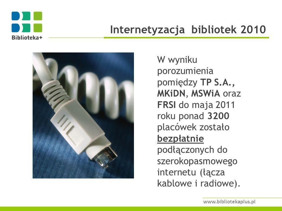Internetyzacja bibliotek 2010 www.bibliotekaplus.pl W wyniku porozumienia pomiędzy TP S.A., MKiDN, MSWiA oraz FRSI do maja 2011 roku ponad 3200 placówek zostało bezpłatnie podłączonych do szerokopasmowego internetu (łącza kablowe i radiowe).