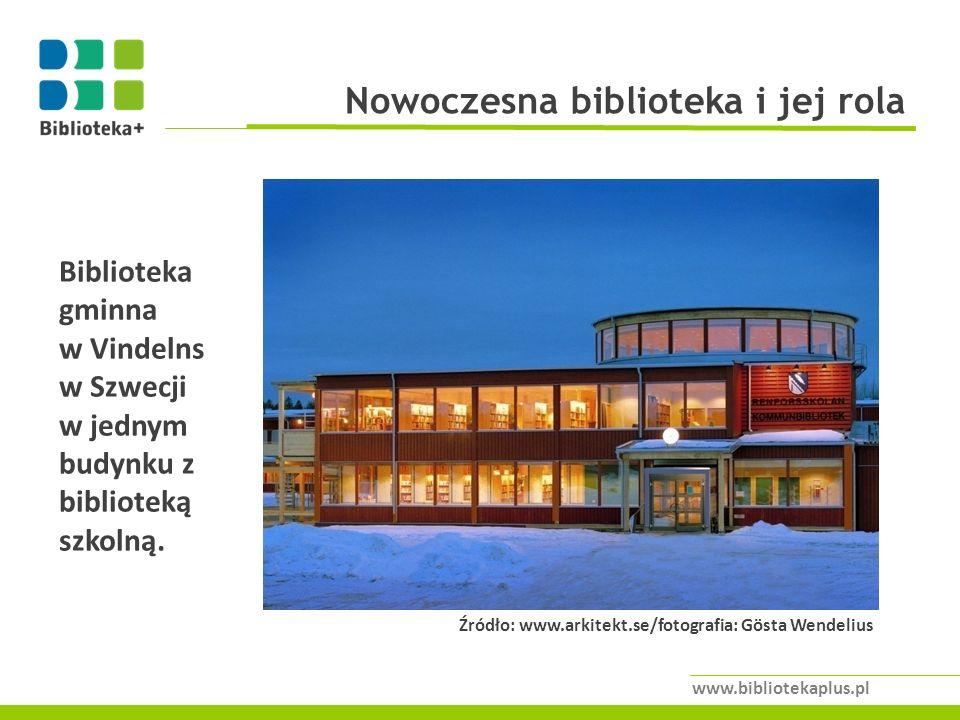 Nowoczesna biblioteka i jej rola www.bibliotekaplus.pl Źródło: www.arkitekt.se/fotografia: Gösta Wendelius Biblioteka gminna w Vindelns w Szwecji w jednym budynku z biblioteką szkolną.