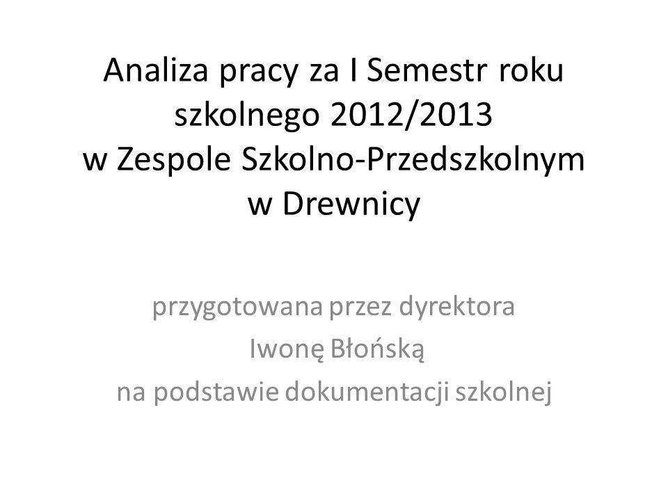 Analiza pracy za I Semestr roku szkolnego 2012/2013 w Zespole Szkolno-Przedszkolnym w Drewnicy przygotowana przez dyrektora Iwonę Błońską na podstawie