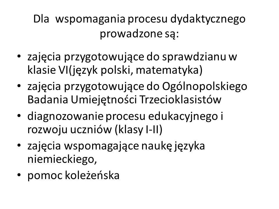 Dla wspomagania procesu dydaktycznego prowadzone są: zajęcia przygotowujące do sprawdzianu w klasie VI(język polski, matematyka) zajęcia przygotowując