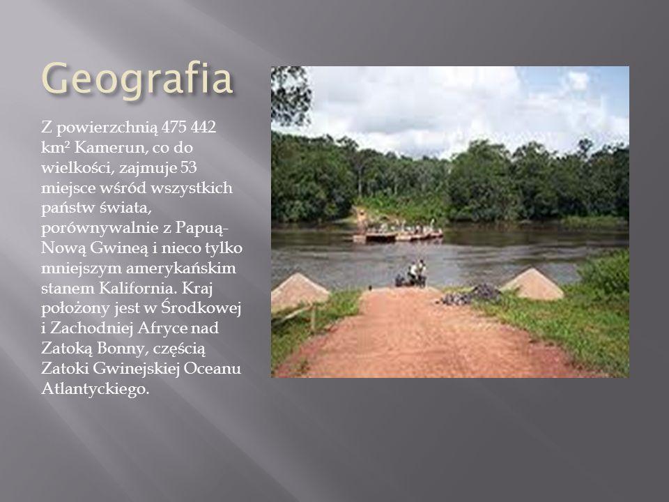 Geografia Z powierzchnią 475 442 km² Kamerun, co do wielkości, zajmuje 53 miejsce wśród wszystkich państw świata, porównywalnie z Papuą- Nową Gwineą i