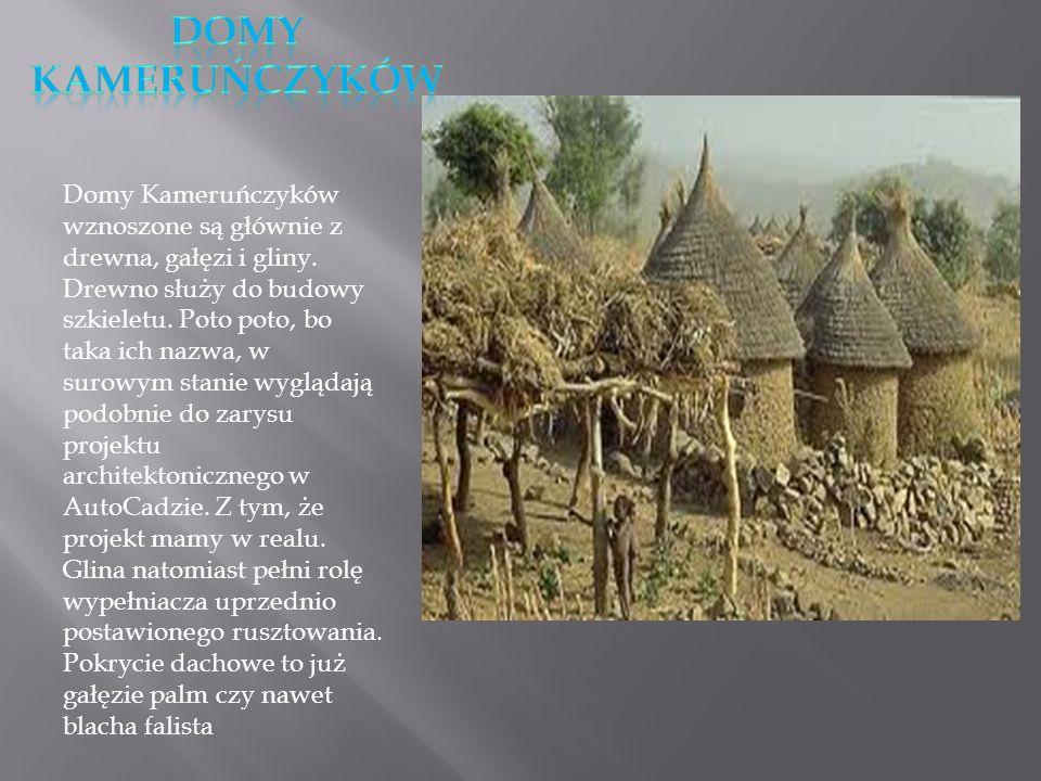 Domy Kameruńczyków wznoszone są głównie z drewna, gałęzi i gliny. Drewno służy do budowy szkieletu. Poto poto, bo taka ich nazwa, w surowym stanie wyg