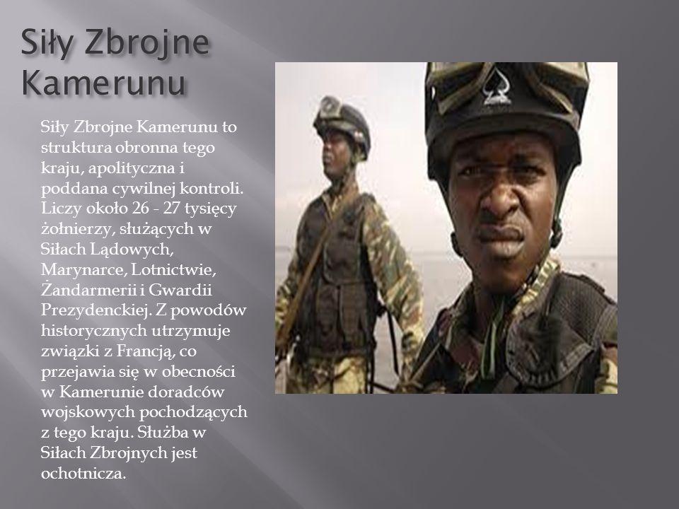 Si ł y Zbrojne Kamerunu Siły Zbrojne Kamerunu to struktura obronna tego kraju, apolityczna i poddana cywilnej kontroli. Liczy około 26 - 27 tysięcy żo