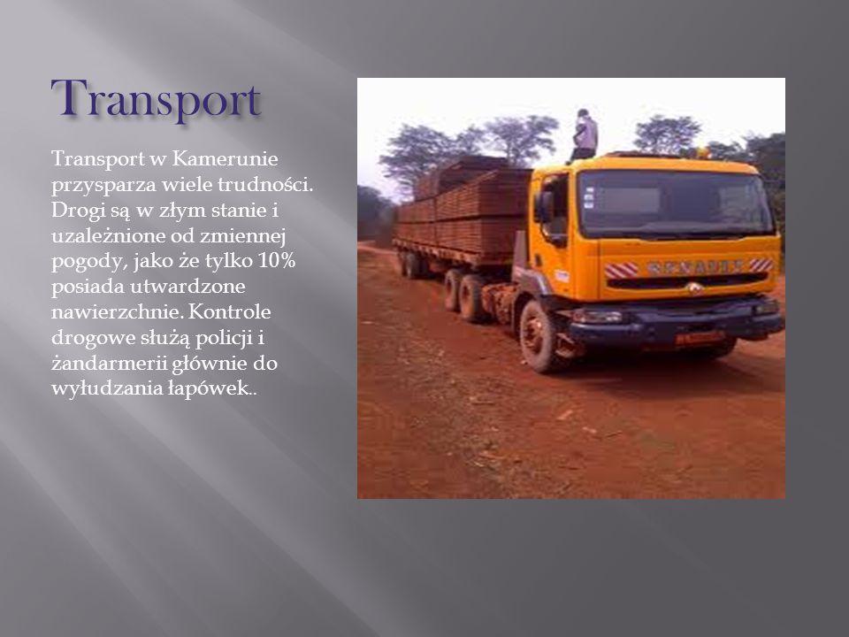 Transport Transport w Kamerunie przysparza wiele trudności. Drogi są w złym stanie i uzależnione od zmiennej pogody, jako że tylko 10% posiada utwardz