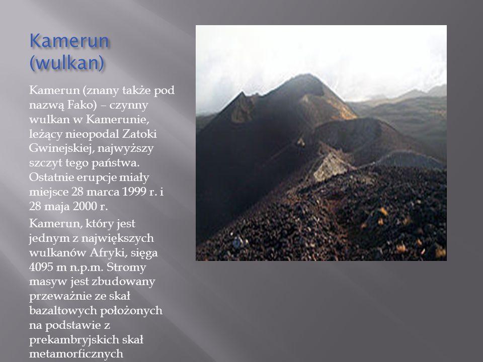 Kamerun (wulkan) Kamerun (znany także pod nazwą Fako) – czynny wulkan w Kamerunie, leżący nieopodal Zatoki Gwinejskiej, najwyższy szczyt tego państwa.
