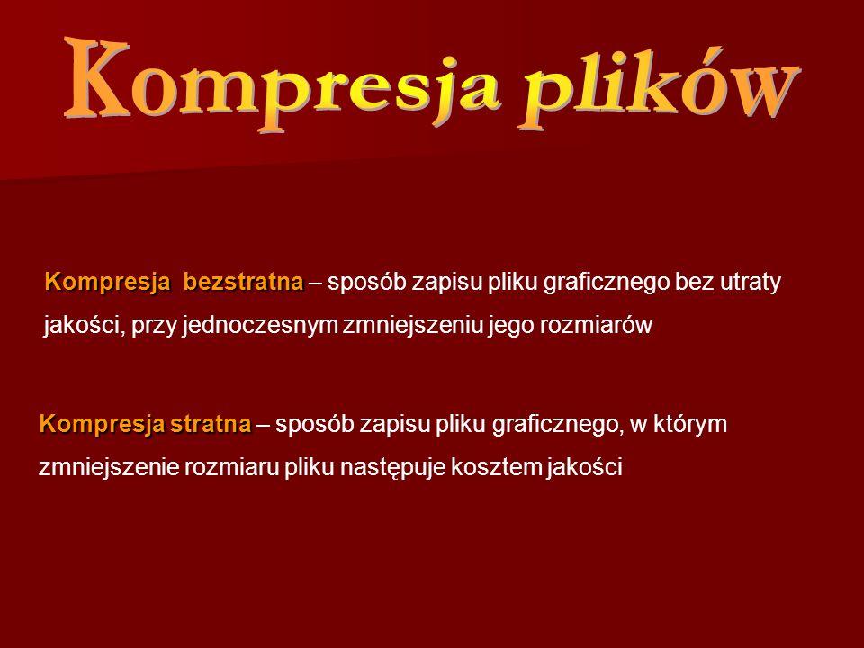 Kompresja stratna Kompresja stratna – sposób zapisu pliku graficznego, w którym zmniejszenie rozmiaru pliku następuje kosztem jakości Kompresja bezstr