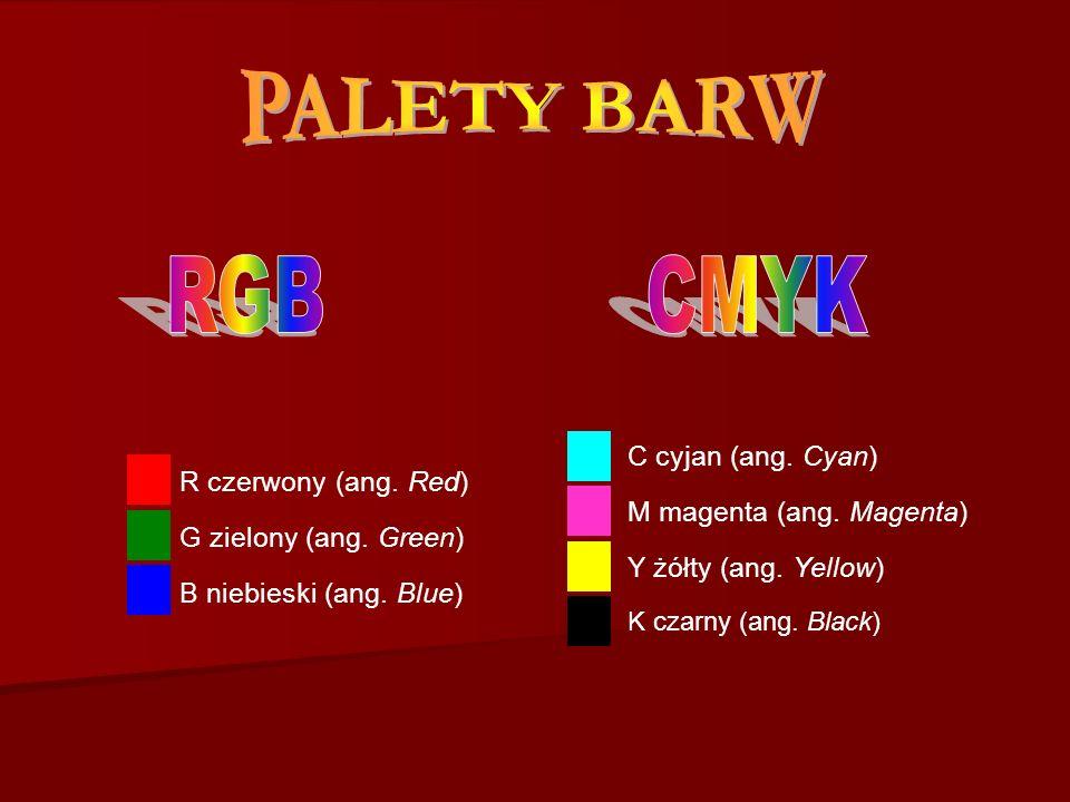 R czerwony (ang. Red) G zielony (ang. Green) B niebieski (ang. Blue) C cyjan (ang. Cyan) M magenta (ang. Magenta) Y żółty (ang. Yellow) K czarny (ang.