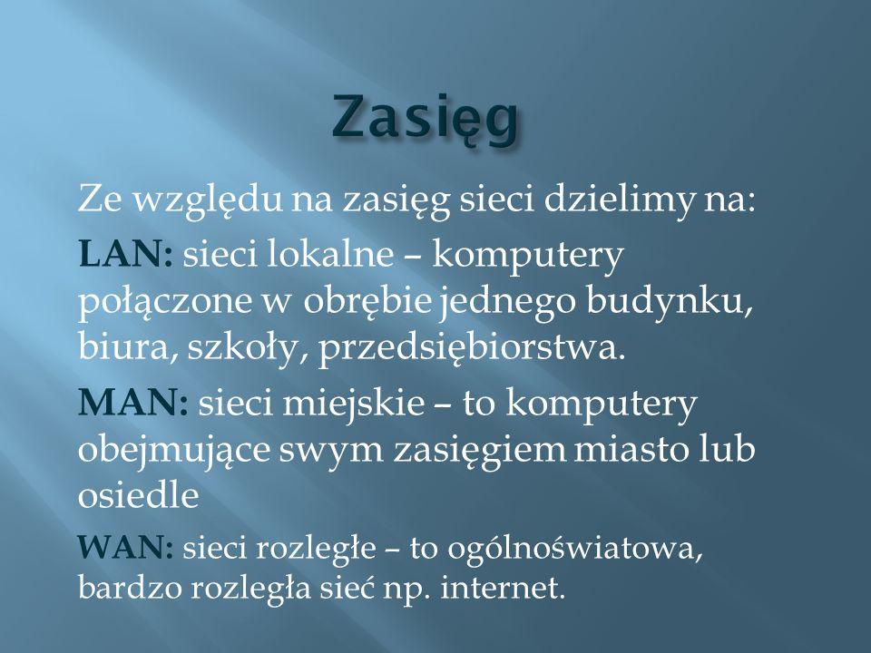 Ze względu na zasięg sieci dzielimy na: LAN: sieci lokalne – komputery połączone w obrębie jednego budynku, biura, szkoły, przedsiębiorstwa. MAN: siec