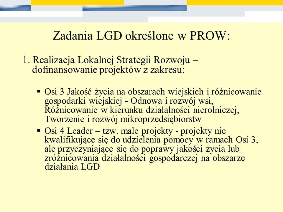 Zadania LGD określone w PROW: 1. Realizacja Lokalnej Strategii Rozwoju – dofinansowanie projektów z zakresu: Osi 3 Jakość życia na obszarach wiejskich
