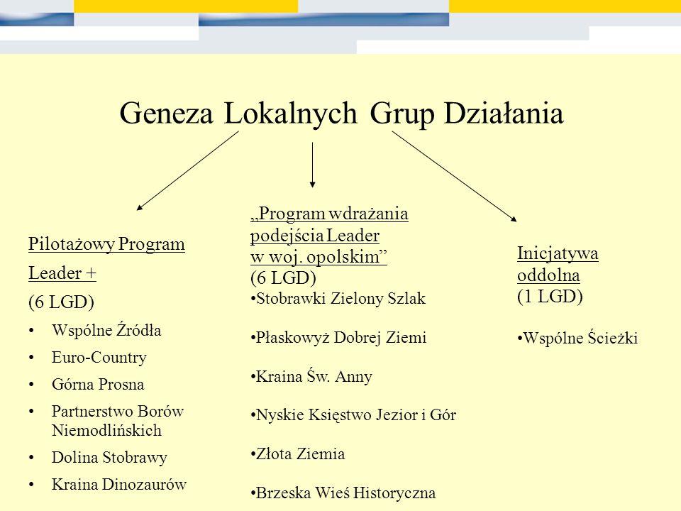 Geneza Lokalnych Grup Działania Pilotażowy Program Leader + (6 LGD) Wspólne Źródła Euro-Country Górna Prosna Partnerstwo Borów Niemodlińskich Dolina S