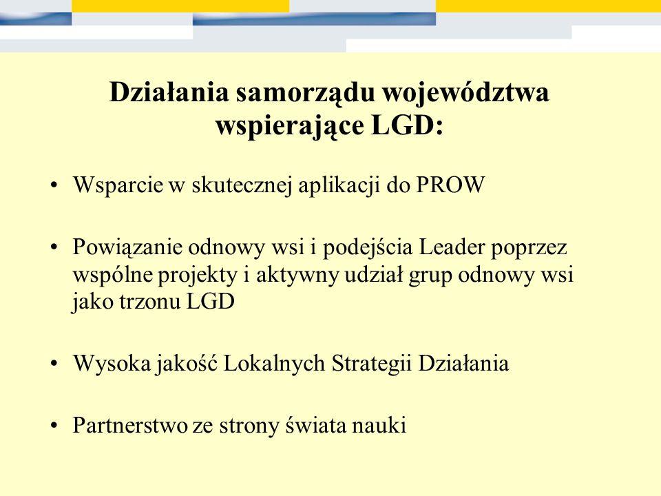 Działania samorządu województwa wspierające LGD: Wsparcie w skutecznej aplikacji do PROW Powiązanie odnowy wsi i podejścia Leader poprzez wspólne proj