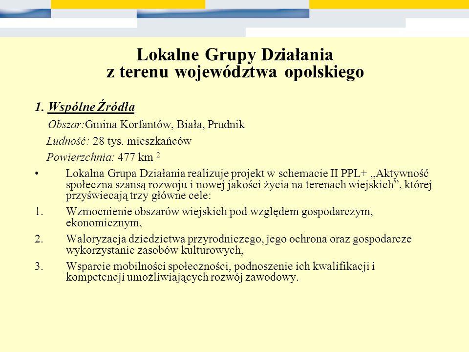 Lokalne Grupy Działania z terenu województwa opolskiego 1. Wspólne Źródła Obszar:Gmina Korfantów, Biała, Prudnik Ludność: 28 tys. mieszkańców Powierzc