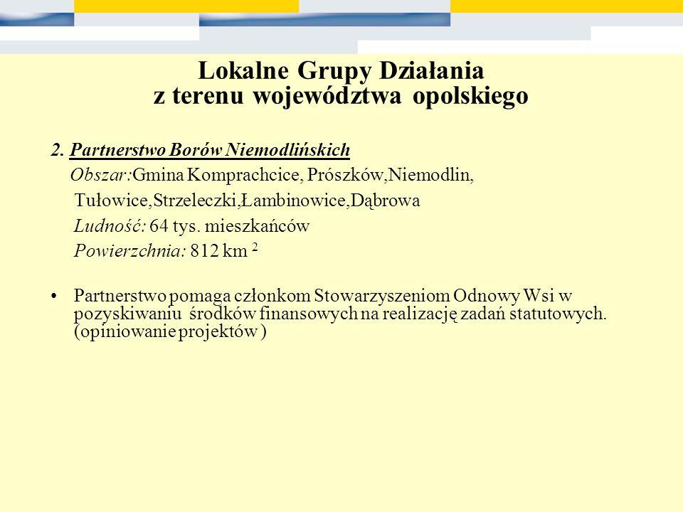Lokalne Grupy Działania z terenu województwa opolskiego 2. Partnerstwo Borów Niemodlińskich Obszar:Gmina Komprachcice, Prószków,Niemodlin, Tułowice,St